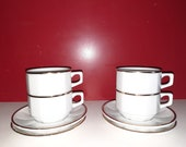 4 st. Bistro porcelain coffee cups with dish