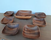 Vintage Teen's teak peanut/snack set from the 70s, 8-piece.
