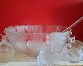 Vintage Arcoroc punch set, bowl set 10 piece
