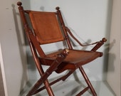 Officer's Chair, Campaign Style with Faux Bamboo legs and leather back and seat.