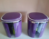 2 st Tupperware Skyline stock cans purple vintage