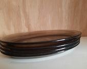 4 st. VTG Arcoroc smoke glass Oval bowls