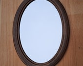 Vintage Oval Oak Mirror with sharpened edge large.