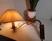Mid-Century Bronze Wall Lamp Reading Lamp with Silk Fold hood