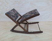 VTG Swinging rocker footstool adjustable with Gobelin fabric