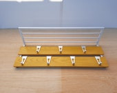 Mid-century coat rack with hat rack white yellow vintage