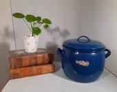 Vintage Enamel Soup Pan Blue 3 ltr.