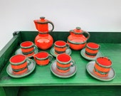 Unique vintage retro coffee-crockery tea tableware, Handmade