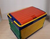 Vintage storage box in Memphis style primary colors