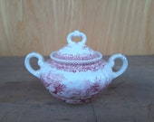 Vintage Burgenland Villeroy sugar pot red