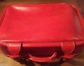 Mid-century retro suitcase vintage red