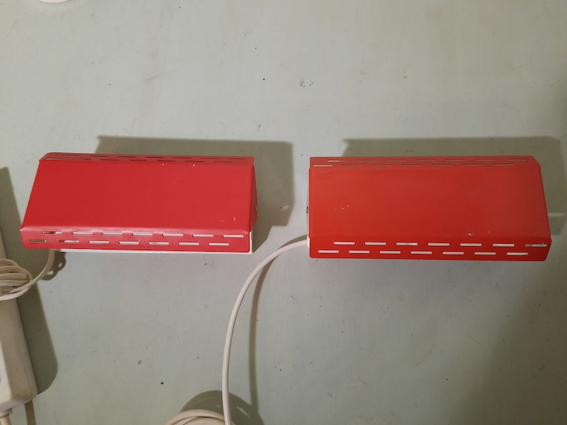 Set of 2 Herda Wall Lamps Bedlamps Bedroom Lamps Vintage Red image 0