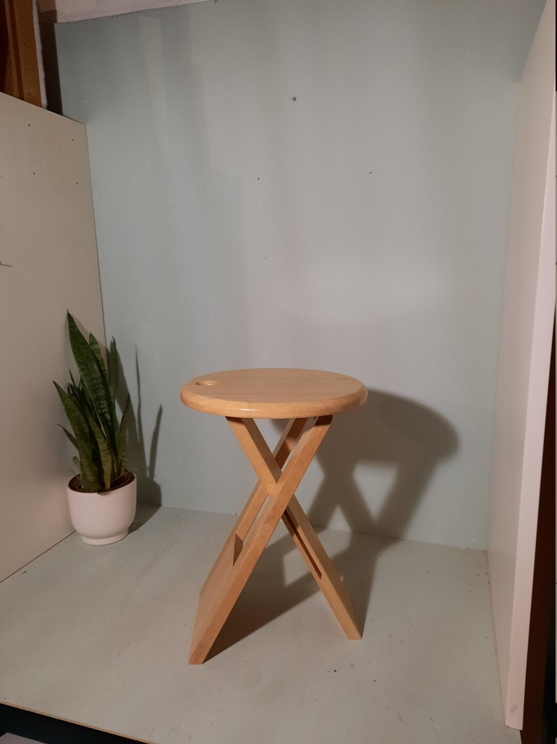 Roger Tallon TS Folding Stool/Vintage Wooden Stool from France image 0