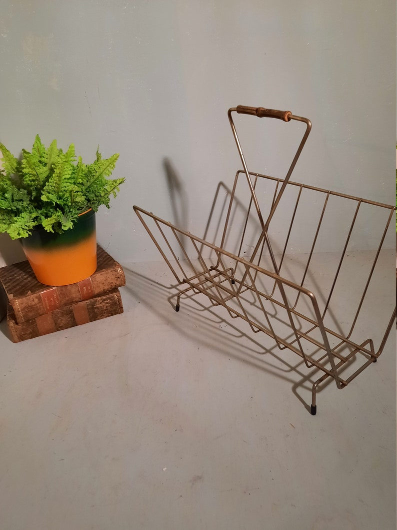 MCM Magazine Rack Brass Color with Bamboo Handle Vintage image 0