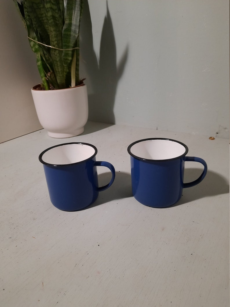Set of 2 vintage Enamel Mugs Cups Bowls blue image 0