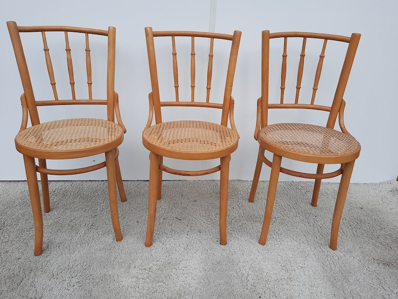 Thonet style chair with webbing sits image 0