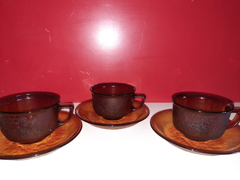 3 st. Arcoroc Sierra Amber cup and dishes image 0