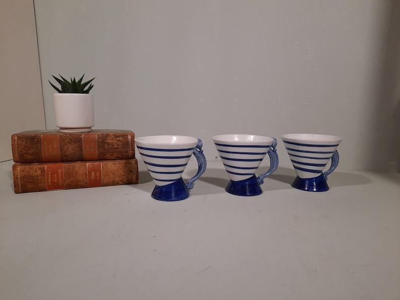 Set v 3 Nautical Mugs with Seahorse Ear Vintage image 0