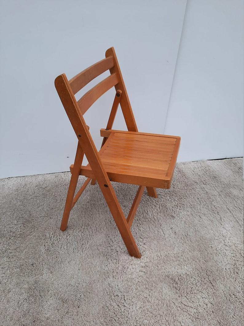 Mid-Century Folding Chair Wood vintage image 0