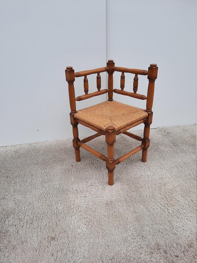 Vintage Oak Corner Chair Wicker Seat Piping Seat image 0