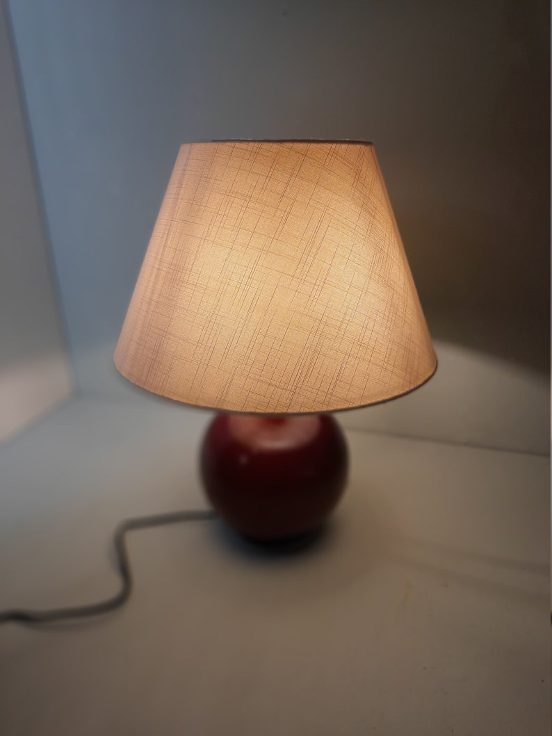 Vintage Ikea Wooden Table Lamp with Linen-Look Shade '80 image 0