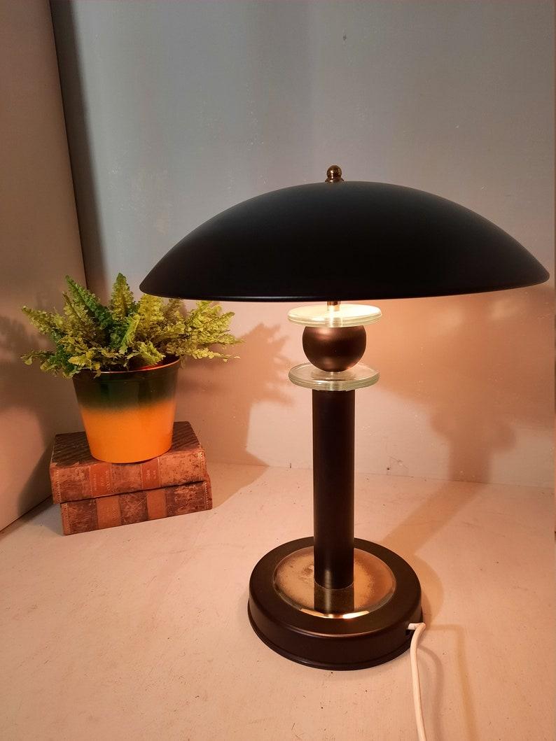 Vintage metal table lamp Hollywood Regency style 80s image 0