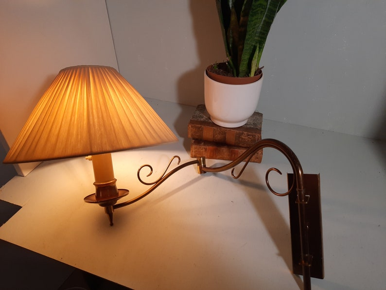Mid-Century Bronze Wall Lamp Reading Lamp with Silk Fold hood image 0