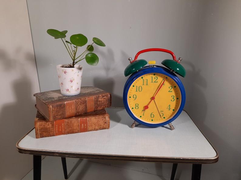 Big Alarm Clock in Memphis style primary colors '80s image 0