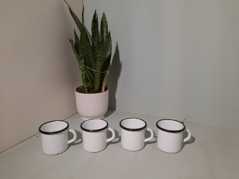 Set of 4 vintage Enamel Mugs Cups Bowls white image 0