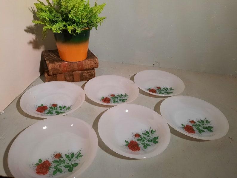 Set of 6 Arcopal Rose Deep Plates soup plates. 21 cm image 0