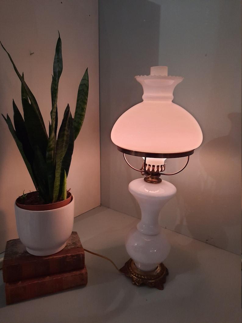 Vintage standing Opaline Oil Lamp 220 V. image 0