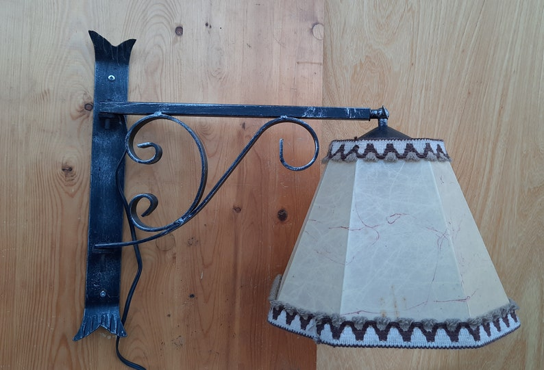 Vintage wrought iron reading lamp with pig bladder hood image 0