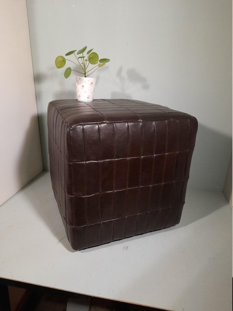 Retro Leather Hocker Pouf Poof Patchwork Vintage image 0