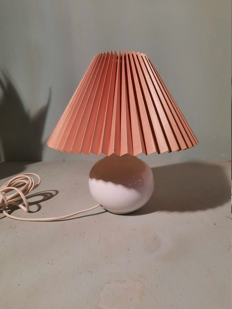 Vintage Ceramics Bulb Table Lamp with Pink Folding Hood image 0