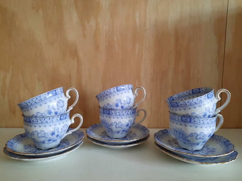 6 st. Seltmann Meadows Theresia bleu cup and dish tea bowl image 0