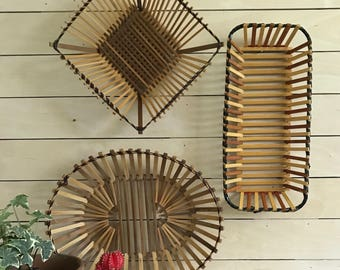 Vintage wall basket / deocorative woven basket / vintage wood slat basket / boho decor / wall basket / boho wall baskets
