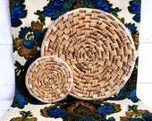 Vintage coil flat basket / set of 2 coil trivet / large and small coil basket / boho basket / boho wall decor