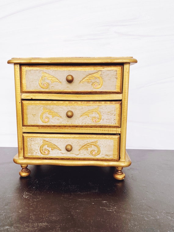 Gold Florentine Jewelry Chest Vintage FLORENTINE Musical JEWELRY BOX With 4 Drawers Italy Gesso Florentine Jewelry Box,Musical Jewelry Box