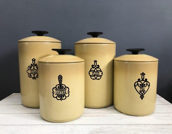 Green kitchen canister set / vintage green kitchen canister / west bend  kitchen canister / coffee tea flour sugar canister