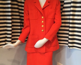 Vintage Red-Orange Chanel Suit