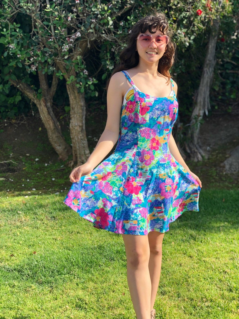 Vintage 80s Hawaiian Babydoll Skater Dress Floral Print Vapor Wave