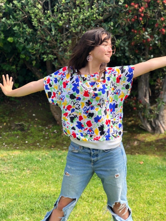 Vintage 1980s - Bright Rainbow Florals Shirt - Roo