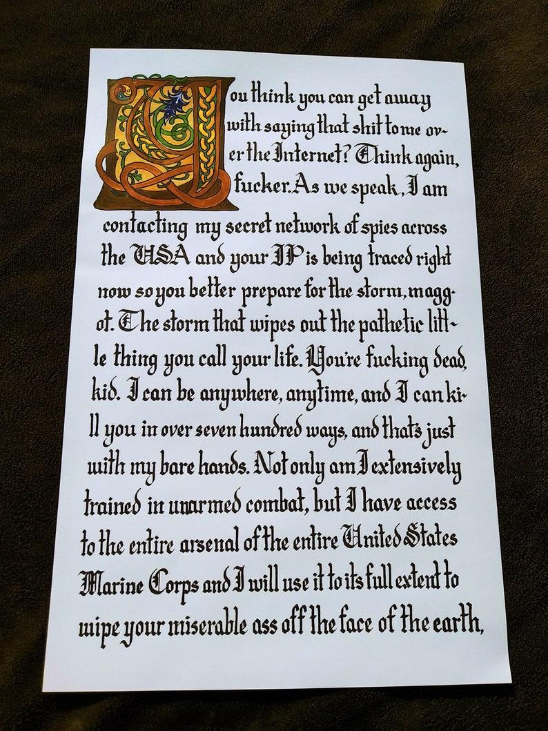 Navy Seal Copypasta Meme Illuminated Manuscript Print