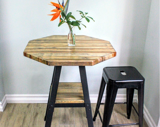 """Counter Height Reclaimed Wood Tabletop - 26"""" Octagon"""