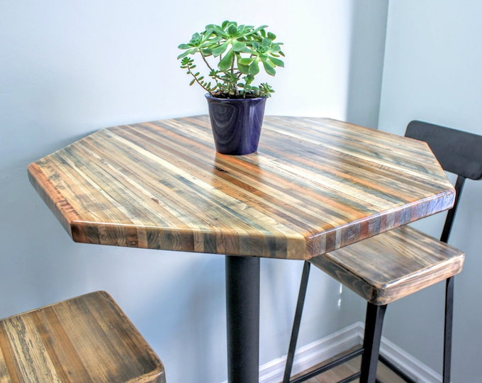"Bar Height Reclaimed Wood Table - 30"" Octagon"
