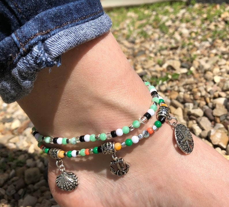 Set of 2 Colorful Beaded STRETCH Charm Anklets