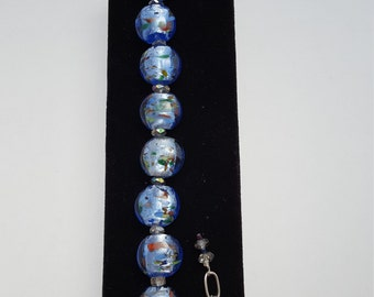 13028B Lamp Work Glass and Crystal Bracelet