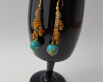 13029E Turquoise Dyed Stone, Czech Crystal and Chain Earrings