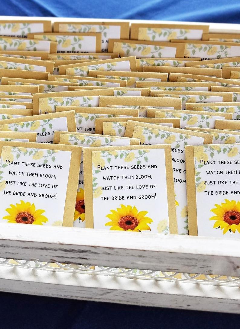 Sunflower Seed Packets Wedding Favor Bridal Shower Favor image 0