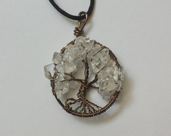 White Wire Wrapped Tree of Life Pendant